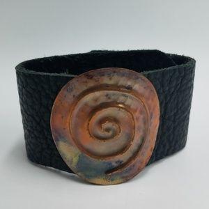 Rose Hammered Copper Medallion Cuff Bracelet